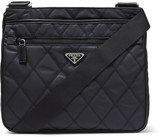Prada Saffiano Leather-Trimmed Quilted-Shell Shoulder Bag