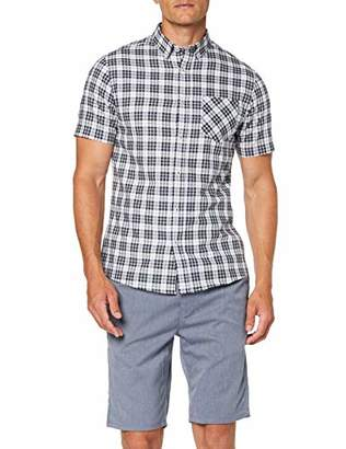 Burton Menswear London Men's Short Sleeve Orban Check Casual Shirt White 190, Small (Size:Small)