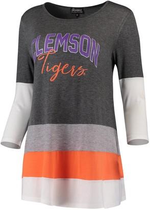 Women's Charcoal/Orange Clemson Tigers Block Party Color Blocked Drapey Long Sleeve Tri-Blend Tunic Shirt