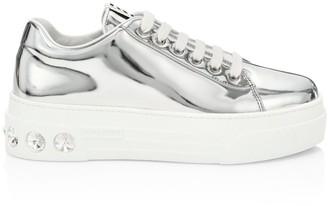 Miu Miu Crystal Skate Metallic Leather Platform Sneakers