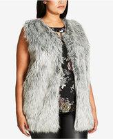 City Chic Trendy Plus Size Faux-Fur Vest
