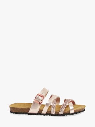 John Lewis & Partners Louise Leather Metallic Slider Sandals