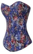 Alivila.Y Fashion Corset Alivila.Y Fashion Sexy Vintage Floral Denim Corset 2767-Blue-XL-FBA