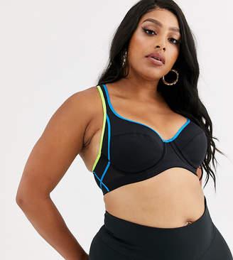 Dorina Plus Size Spirit high impact sports bra in black