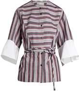 Palmer Harding PALMER/HARDING Flounce-cuff cotton-poplin shirt
