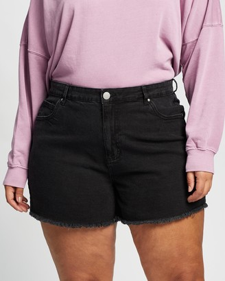 Cotton On Curve - Women's Black Denim - Curve Mom High-Waisted Denim Shorts - Size 16 at The Iconic