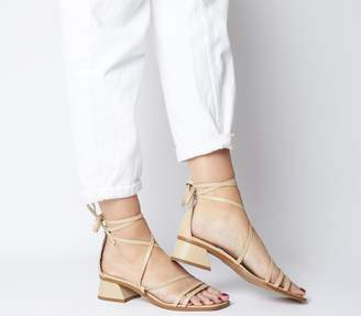 Office Minimal Strappy Mid Block Heels Nude Leather