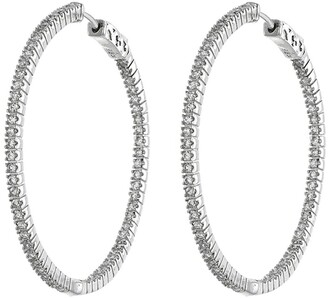 Cz By Kenneth Jay Lane CZ Inside-Out 50mm Hoop Earrings
