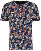 Knowledge Cotton Apparel FLOWER PRINT Print Tshirt peacoat