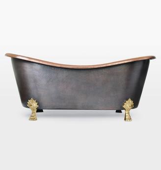Rejuvenation Cupatitzio Copper Exterior & Rose Gold Interior Clawfoot Tub with Rose Gold Waste & Overflow