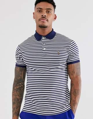 Polo Ralph Lauren stripe pima jersey polo slim fit multi player logo in navy/white