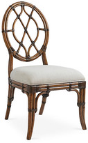 Tommy Bahama Cedar Key Oval-Back Side Chair - Ivory frame, rustic java; upholstery, ivory/gold