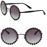 Dolce & Gabbana Flower-Trimmed 56MM Round Sunglasses