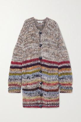 Stella McCartney Striped Alpaca-blend Cardigan - Gray