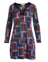 Aryeh Navy Geometric Notch Neck Dress