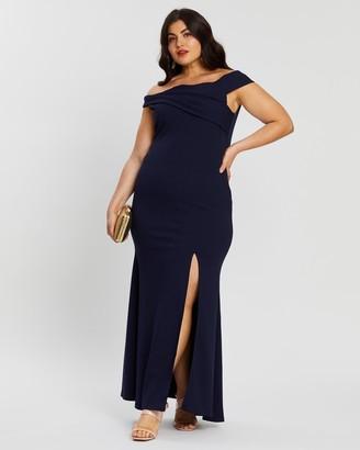 boohoo Plus Bardot Extreme Split Maxi Dress