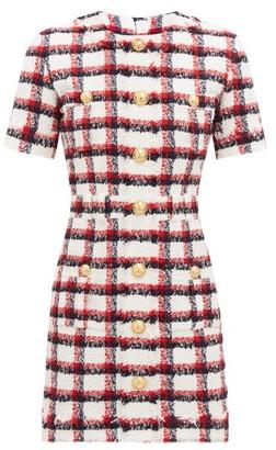 Balmain Check Wool-blend Tweed Mini Dress - Red Multi