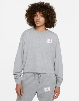 Jordan essential boxy long sleeve t-shirt in grey