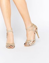 True Decadence Gold Glitter Ankle Strap Heeled Sandals
