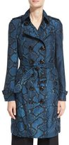 Burberry The Sandringham - Python-Print Silk Trenchcoat, Mineral Blue
