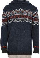 River Island Boys navy fairisle knit hoodie