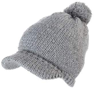 Jeff & Aimy Womens Acrylic Knitted Hat with Visor Jeep Beanie Cold Weather Winter Newsboy Cap Pom Grey