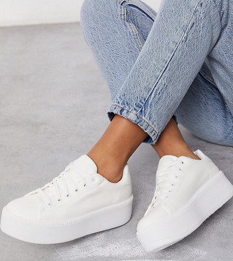 Asos Design DESIGN Wide Fit Dreamer flatform chunky trainers in white