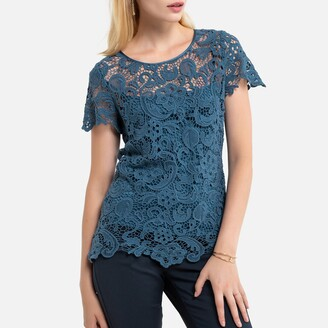 Anne Weyburn 2-in-1 Lace Top with Cami and Short Sleeves