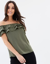 Oasis Soft Frill Bardot Top
