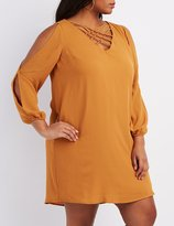 Charlotte Russe Plus Size Lattice Split Sleeve Shift Dress