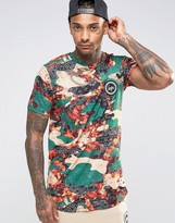 Hype T-Shirt In Bandana Camo With Crest Logo