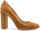 Gianvito Rossi Suede Chunky Heels in Brown.