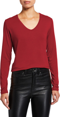 Majestic Filatures Soft Touch V-Neck Long-Sleeve Boxy Top with Side Slits