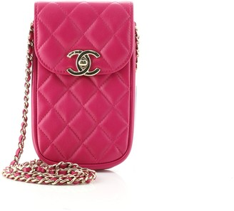 Chanel CC Flap Phone Holder Crossbody Bag Quilted Lambskin
