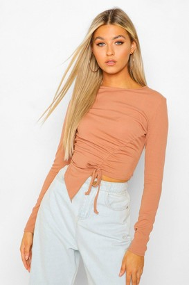 boohoo Tall Rib Long Sleeve Ruched Top