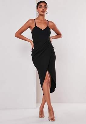 Missguided Black Cami Wrap Bodycon Midi Dress