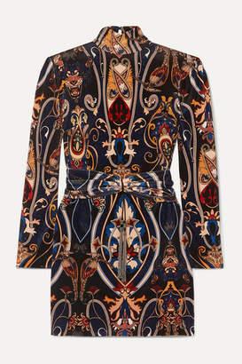 Dundas Embellished Printed Stretch-velvet And Lace Mini Dress - Blue