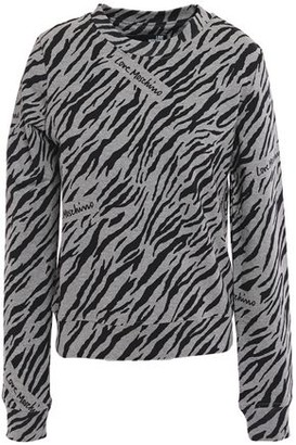 Love Moschino Zebra-print Cotton-blend Fleece Sweatshirt
