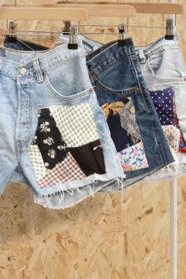 Urban Renewal Vintage Remade From Vintage Patchwork Light Wash Denim Shorts - Blue S at Urban Outfitters