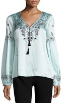 Nanette Lepore Long-Sleeve Embroidered Silk Satin Top, Blue/Black