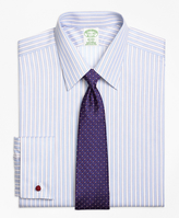 Brooks Brothers Non-Iron Madison Fit Hairline Framed Stripe French Cuff Dress Shirt