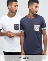 Brave Soul 2 Pack Pocket T-Shirt in Star Print Pocket