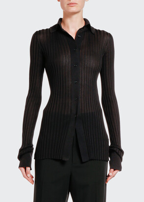 Bottega Veneta Ribbed Silk Button-Front Polo Top