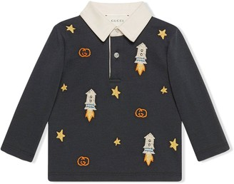 Gucci Kids Rocket Embroidery Polo Shirt