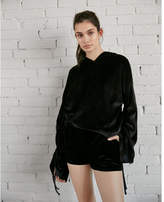 Express velour ruched sleeve sweatshirt