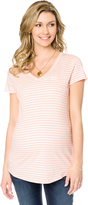 Motherhood Short Sleeve V-neck Maternity Pocket Tee