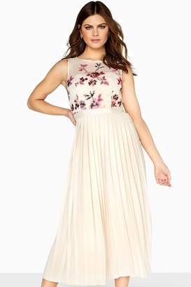 Little Mistress Harper Contrast Embroidery Midaxi With Pleated Skirt