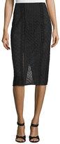 Rebecca Taylor Lace Crochet Pencil Skirt, Black
