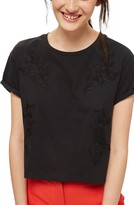 Topshop Women's Embroidered Crop Tee