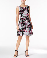 Connected Petite Belted Floral-Print Dress